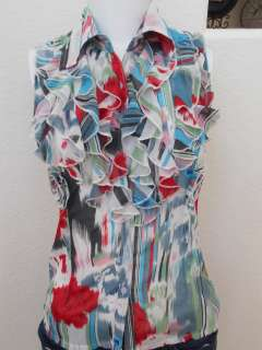 BLUE GREY PINK RED WHITE RUFFLE BUTTON WOMENS TOP NEW HOT SZ S