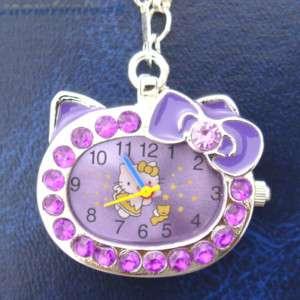 Hello Kitty lovely necklace Watch Clock Xmas PURPLE+BOX