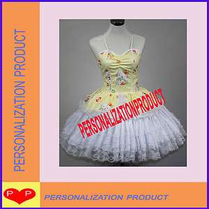 Lolita yellow Cosplay Hello Kitty Pattern 2 Ballroom Corset dress