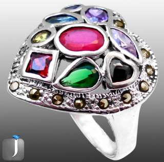 size 6 1/2 MARCASITE RED RUBY GARNET EMERALD 925 STERLING SILVER RING