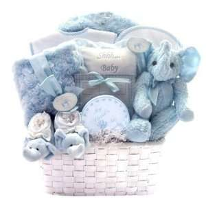 Winter Luxuries New Baby Boy Gift Basket with Blue