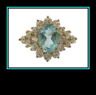 10K Yellow Gold Sky Blue Topaz & Sapphire Fashion Ring