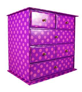 Hot Pink / Purple Polka Dot Print Jewelry Box 6 Drawers