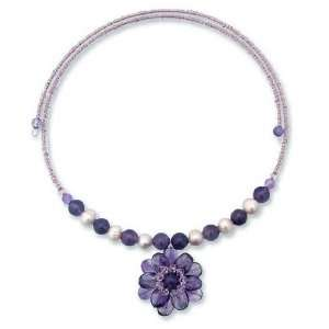and Purple Amethyst Flower Necklace Oriental Bloom 0.2 W 21.1 L