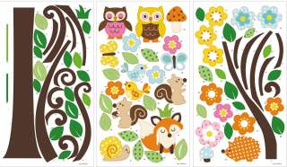 Wall Decals Scroll Flowers Tree & Forest Animals 4 boys girls