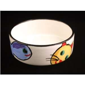 Luxury Ceramic Cat Bowl Dancing   White