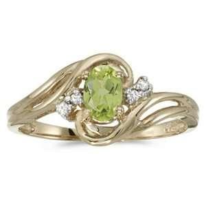 Yellow Gold August Birthstone Oval Peridot And Diamond Ring Jewelry