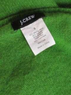 Crew green merino wool angora cashmere argyle print v neck sweater S