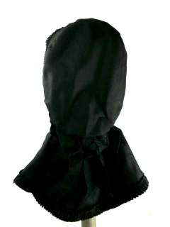 Antique Ladies Hat Black Silk Bonnet 1880s