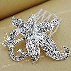 Silver Plated Flower Crystal Bridal Prom Hair Comb 2.4 FASHION