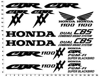 Honda 1100 CBR Blackbird Decals Stickers Black Bird