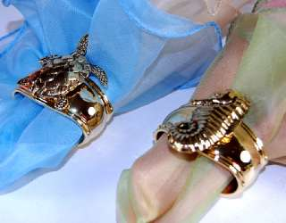 Turnwald Set 4 GOLD Napkin Rings Sealife Assorted NIB