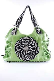 Rhinestone Zebra Flower Ruched Hobo Purse LIME