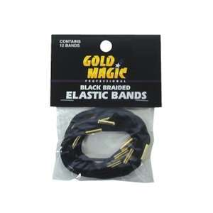 Gold Magic Braided Elastic Bands   Black (Pack of 12) Beauty