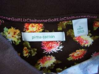 NWT LIZ CLAIBORNE GOLF BROWN FLORAL PRINT SS POLO TOP
