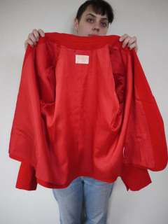 Bright Red WOOL Skirt 32 Waist Blazer SUIT USA Made 18