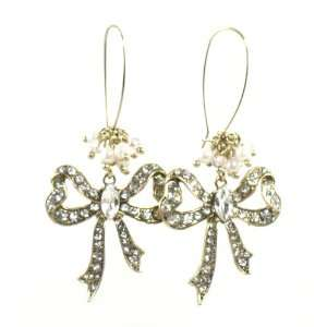 Betsey Johnson Jewelry Iconic Cupids Arrow Gold Bow Drop Earring