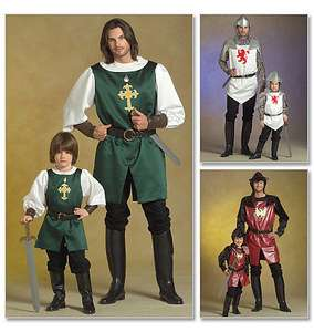 Childrens/ Boys Knight, Prince and Samurai Costumes Pattern