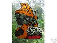 Halloween Cat & BREW Stained Glass Window Cling