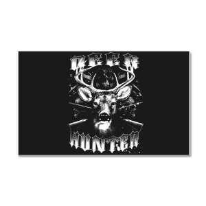 22 x 14 Wall Vinyl Sticker Deer Hunter Buck Rack and Rifles