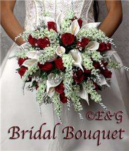 wedding bouquet bouquets bridal silk flowers ANNA RED