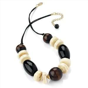 Wood & Resin Bead Chunky Silk Cord Necklace (Godl Tone