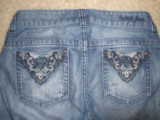 Womens GUESS CAPRIS CROPPED Jeans Distressed Cuffs SZ 30