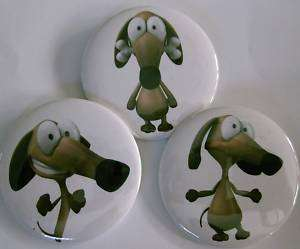 Set of 3 DACHSHUND DOG fun BUTTON badge or magnets