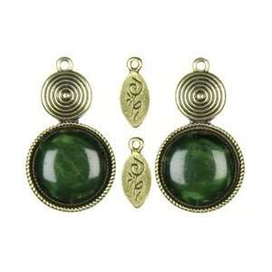 Cousin Jewelry Basics Metal Accents 4/Pkg Gold/Green