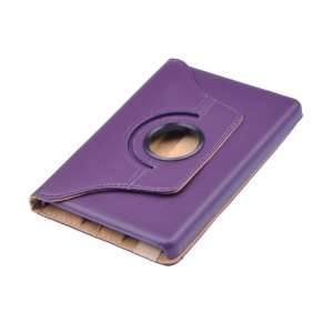 Purple 360 degree Rotation Swivel Faux Folio Leather Case Stand Cover