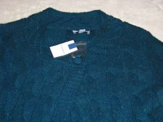 Croft & Barrow Womens Cable~Knit Cardigan Sweater Top Small 4/6 Teal