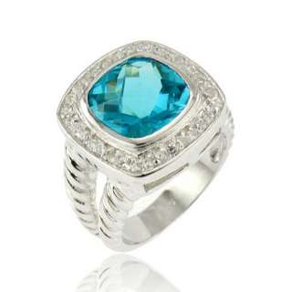 Cushion Blue Topaz Simulated Cocktail 925 Sterling Silver Womens
