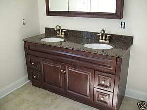 60x21 Cherry Stained Solid Wood Vanity Cabinet