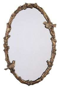 Spring Sparrow Oval WALL MIRROR Antique Gold NEW