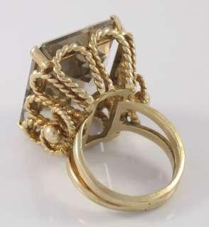 Estate 14k Solid Gold HUGE Smokey Topaz Ladies Ring