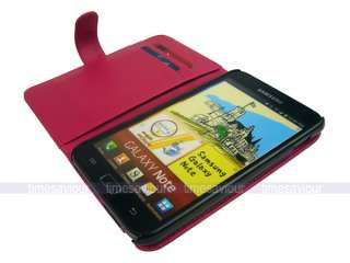 Dark Pink Leather Case Cover for Samsung Galaxy Note with Inner Card