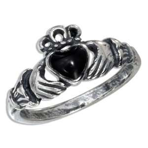 Sterling Silver Jet Heart Claddagh Ring Jewelry