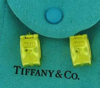 Tiffany & Co 1837 Collection 18K Gold Hoop Huggie Earrings Retired
