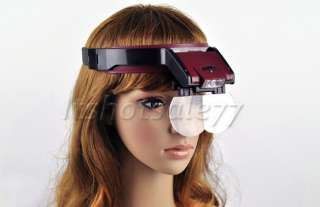 Fashion 4 Lens Loop Head Band VISOR Magnifier LED Magnifying Glass