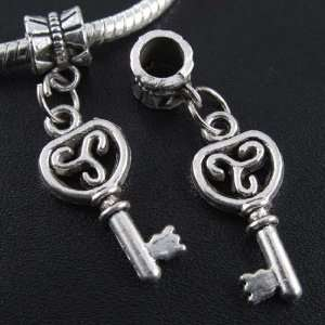Silver Key Dangle Charm Bead for Bracelet or Necklace