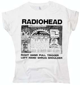 Radiohead Shrug music rock indie Brit pop white t shirt