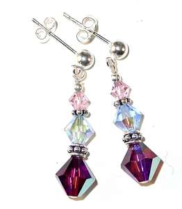 SWAROVSKI CRYSTAL ELEMENTS Sterling Silver Earrings LAVENDER BLUE