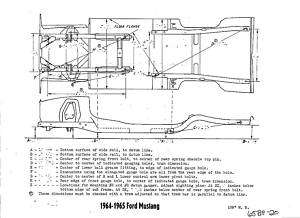1965 Ford Mustang NOS Frame Dimensions Alignment Specs
