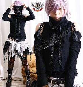 Robot BJD Visual Kei Goth Punk Mesh Muslin Top+Wrap S/M