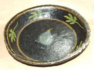 Vintage Antique Toleware Paper Mache Fruit Bowl Hand Painted India OLD