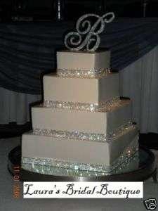 Row Silver Rhinestone Crystal Wedding Cake Ribbon