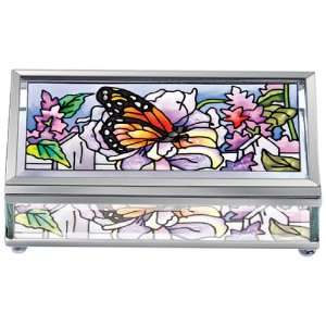Beveled Glass Rectangular Jewelry Box, Hand Painted Butterfly Design