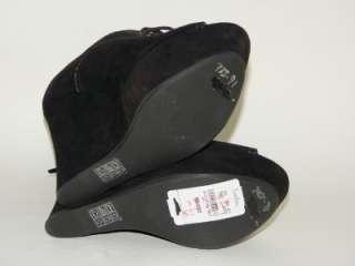 MIU MIU Prada Brown Suede Peep Toe Wedge Bootie Shoe 38 NIB
