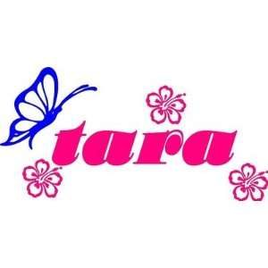 Personalized Name Butterflies & Flowers Wall Decal Kids