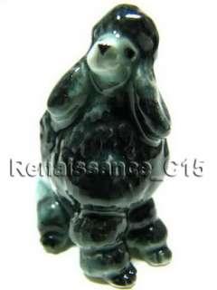 Figurine Miniature Animal Ceramic Statue 2 Poodle Dogs